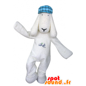 Maskotti valkoinen koira sininen baskeri - MASFR031300 - koira Maskotteja