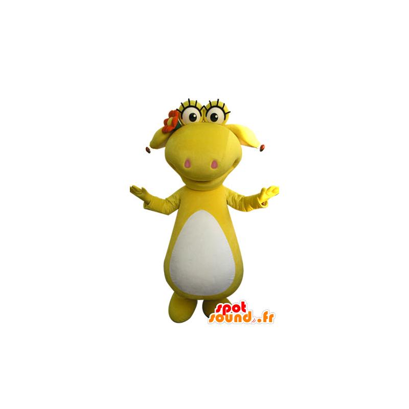 Gul og hvit dinosaur maskot. gul dyr - MASFR031301 - Dinosaur Mascot