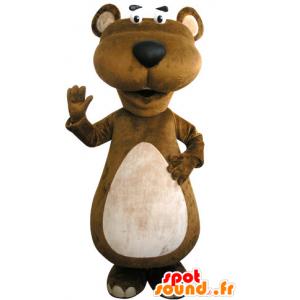 Marrone e bianco mascotte castoro. Marmot mascotte - MASFR031302 - Castori mascotte