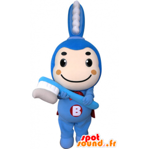 Blue toothbrush mascot with a cape - MASFR031303 - Mascots of objects
