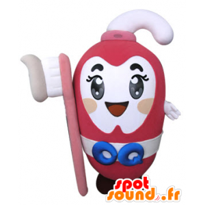 Pink toothpaste mascot holding a toothbrush - MASFR031305 - Mascots of objects