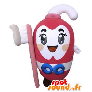Rosa Zahnpasta Maskottchen mit einer Zahnbürste - MASFR031305 - Maskottchen von Objekten