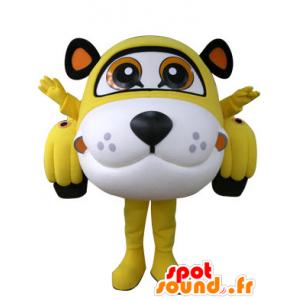 Formet bil maskot tiger gul, hvit og svart - MASFR031306 - Tiger Maskoter