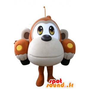 Laranja carro mascote em forma e macaco bege - MASFR031307 - macaco Mascotes