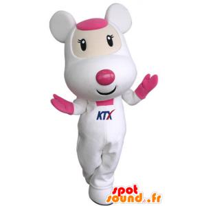 Mascotte de souris blanche et rose, mignonne et attendrissante - MASFR031314 - Mascotte de souris