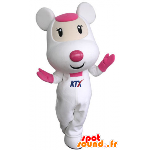 Rosa og hvit mus maskot, søt og inntagende - MASFR031314 - mus Mascot