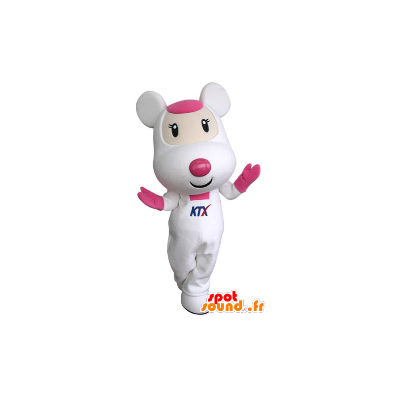 Pink and white mouse mascot, cute and endearing - MASFR031314 - Mouse mascot