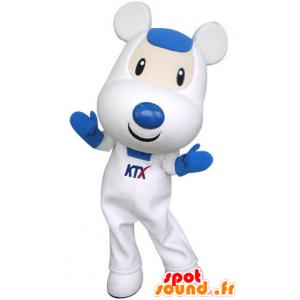 Mascotte de souris blanche et bleue, mignonne et attendrissante - MASFR031315 - Mascotte de souris