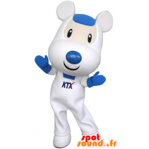 White and blue mouse mascot, cute and endearing - MASFR031315 - Mouse mascot