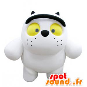 Gato branco Mascot atacado com olhos amarelos - MASFR031317 - Mascotes gato