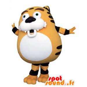 Orange tiger mascot, black and white, plump and cute - MASFR031321 - Tiger mascots