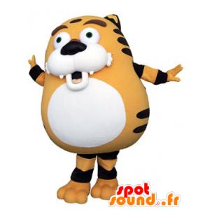 Oranssi tiikeri maskotti, musta ja valkoinen, pullea ja söpö - MASFR031321 - Tiger Maskotteja