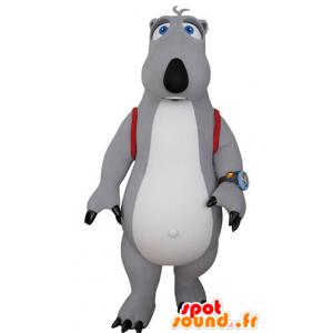 Grå og hvid bjørnemaskot med en skoletaske - Spotsound maskot