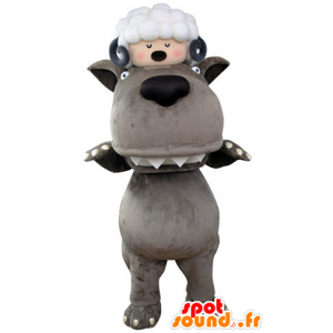 Grey Wolf mascot with a sheep on the head - MASFR031324 - Mascots sheep
