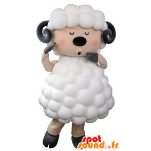 Mascotte de mouton, de bouc blanc, noir et rose - MASFR031325 - Mascottes Mouton