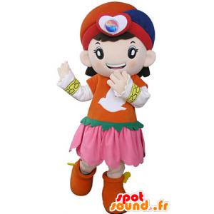 Meisje mascotte, gekleed in een kleurrijke oosterse kleding - MASFR031327 - Mascottes Boys and Girls