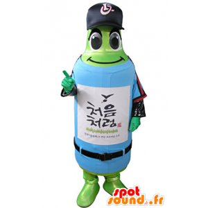 Groene fles mascotte in sportkleding - MASFR031340 - sporten mascotte