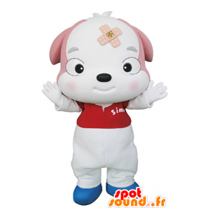 Κουτάβι μασκότ, ροζ και λευκό σκυλί - MASFR031342 - Μασκότ Dog
