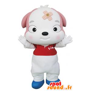 Mascotte de chiot, de chien blanc et rose - MASFR031342 - Mascottes de chien