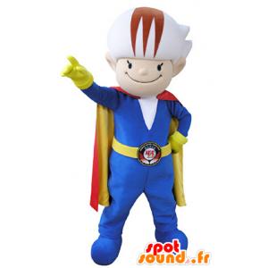 Colorato mascotte pupazzo di neve con una combinazione e un mantello - MASFR031343 - Umani mascotte