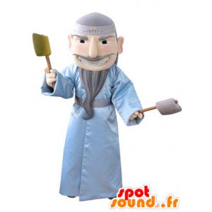 Mascotte bebaarde man met een blauwe badjas - MASFR031344 - man Mascottes