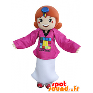 Redhead mascot, dressed in a pink outfit and white - MASFR031346 - Mascots boys and girls