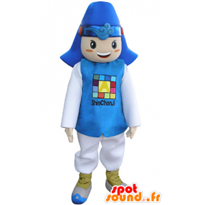 Boy mascot dressed in blue and white costume. - MASFR031347 - Mascots boys and girls