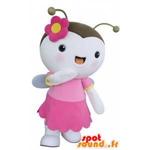 Mascot lentävien hyönteisten, vaaleanpunainen ja valkoinen perhonen