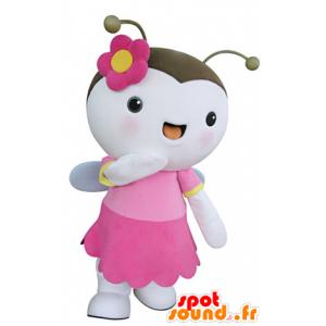 Mascot vliegend insect, roze en witte vlinder