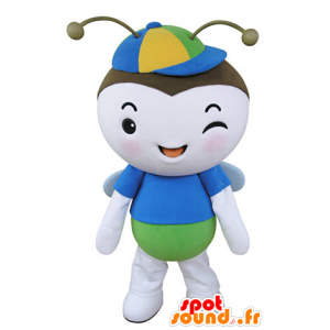 ιπτάμενο έντομο Mascot, πεταλούδα μπλε, πράσινο και λευκό