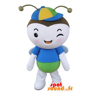 Mascot vliegend insect, vlinder blauw, groen en wit