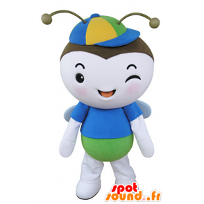 Mascot flying insect, blue butterfly, green and white - MASFR031350 - Mascots Butterfly