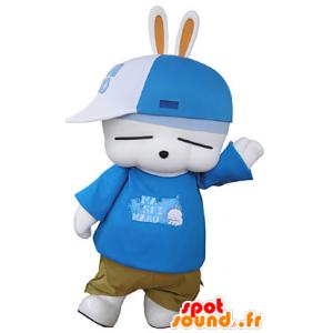 Bílý zajíček maskot, zábava, oblečeni v hip-hopu - MASFR031351 - maskot králíci