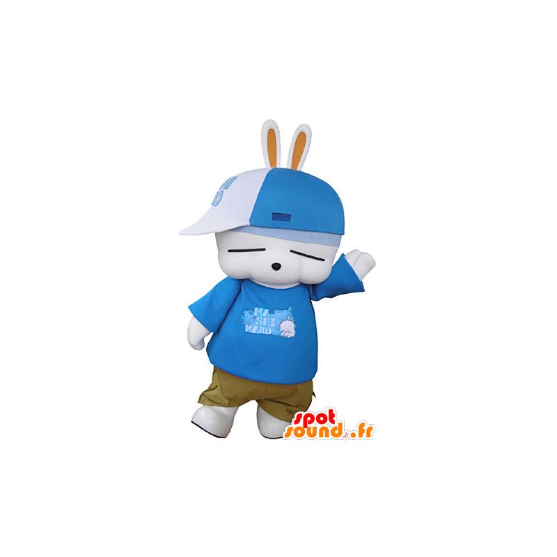 White bunny mascot, fun, dressed in hip-hop - MASFR031351 - Rabbit mascot