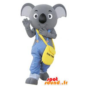 Harmaa koala maskotti pukeutunut haalarit - MASFR031352 - Koala Maskotteja