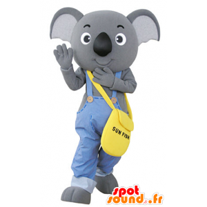 Mascote coala cinza vestido de macacão - MASFR031352 - Koala Mascotes