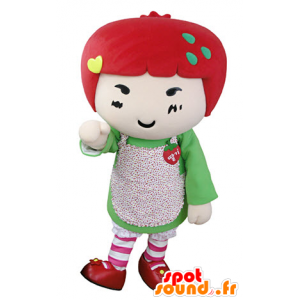 Mascotte girl with red hair. strawberry mascot - MASFR031353 - Mascots boys and girls