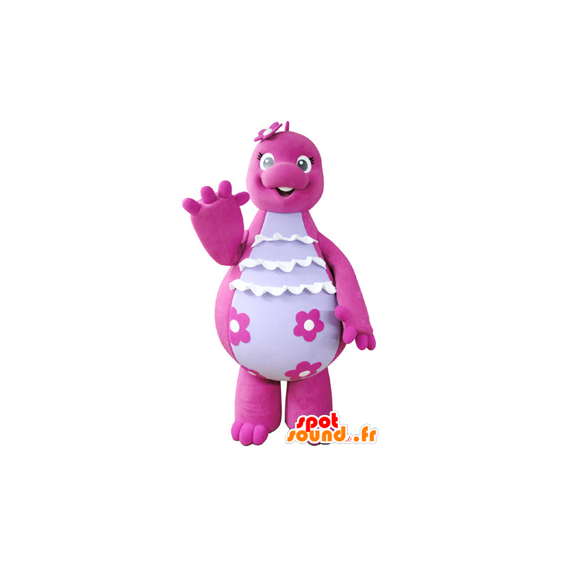 Mascot pink and white dinosaur, cute and funny - MASFR031354 - Mascots dinosaur