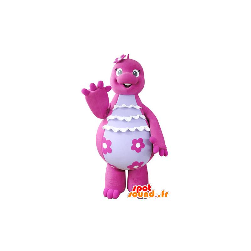 Mascot rosa og hvite dinosaur, søt og morsom - MASFR031354 - Dinosaur Mascot