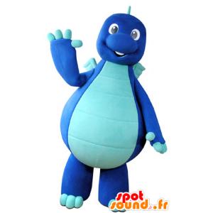 Mascotte de dragon, de dinosaure bleu bicolore - MASFR031355 - Mascotte de dragon