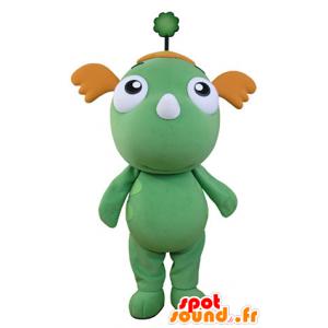 Groene draak mascotte en oranje. groene mascotte - MASFR031356 - Dragon Mascot