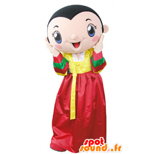 Mascotte de femme brune portant une robe jaune et rouge - MASFR031357 - Mascottes Femme