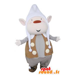 Mascotte de lutin avec les oreilles pointues et un bonnet - MASFR031361 - Mascottes Noël