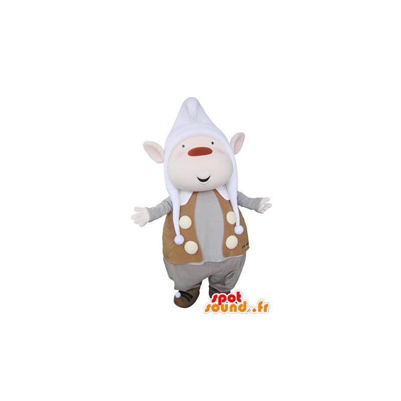 Kobold Maskottchen mit den spitzen Ohren und einer Kappe - MASFR031361 - Weihnachten-Maskottchen