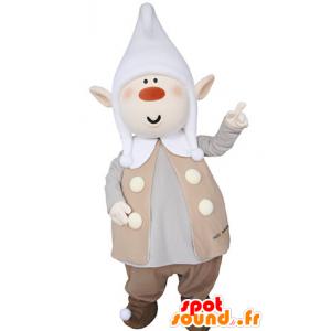 Kobold Maskottchen plump, mit spitzen Ohren und einer Kappe - MASFR031364 - Weihnachten-Maskottchen