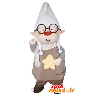 Mascotte de lutin avec les oreilles pointues et un grand bonnet - MASFR031366 - Mascottes Noël