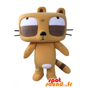 Orange og brun bævermaskot med store øjne - Spotsound maskot