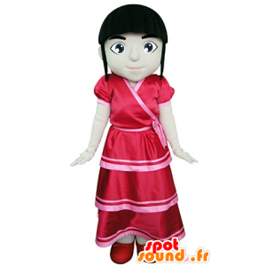 Brunette girl mascot dressed in a red dress - MASFR031376 - Mascots boys and girls