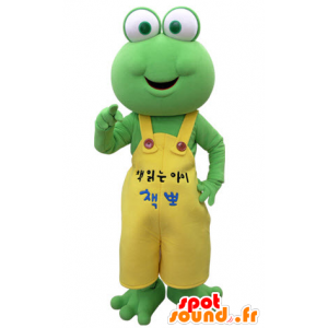 Green frog mascot with a yellow overalls