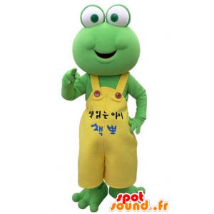 Grüner Frosch-Maskottchen mit einem gelben Overall - MASFR031382 - Maskottchen-Frosch